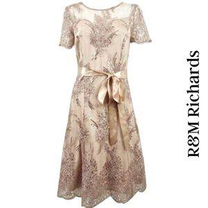 R&M Richards NWT Sequin-Embellished Lace Dress, 6